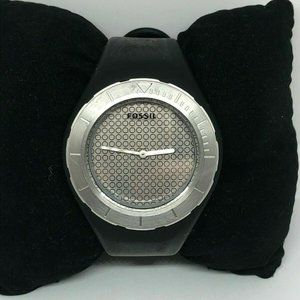 Fossil Mens Silicone Silver Dial Wrist Watch Bb924